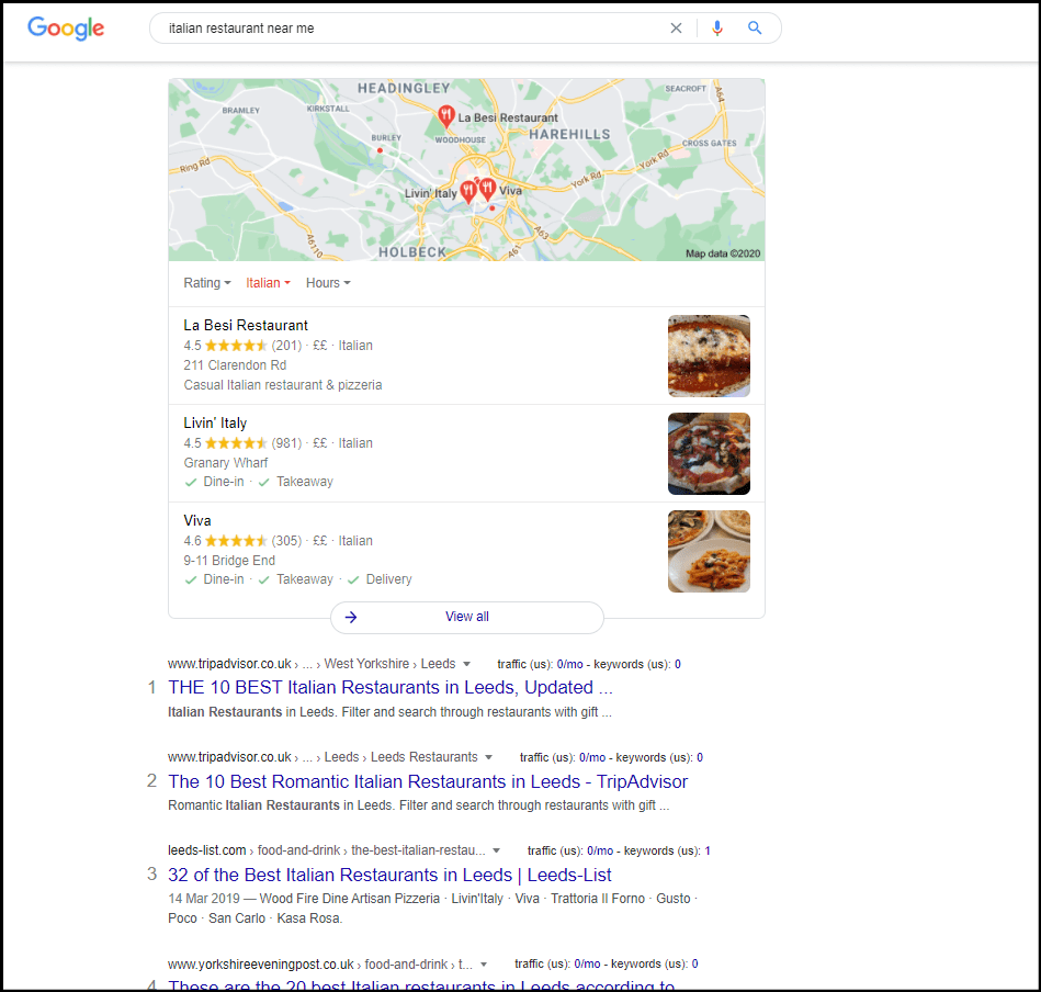 Google results for italian restaurants near me