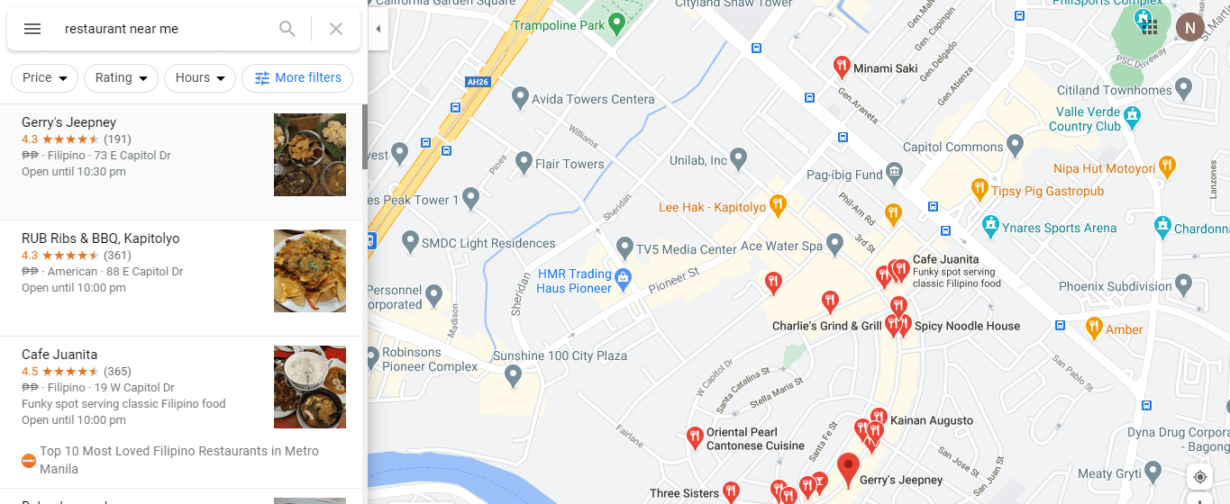 "Google search for ""restaurant near me"""