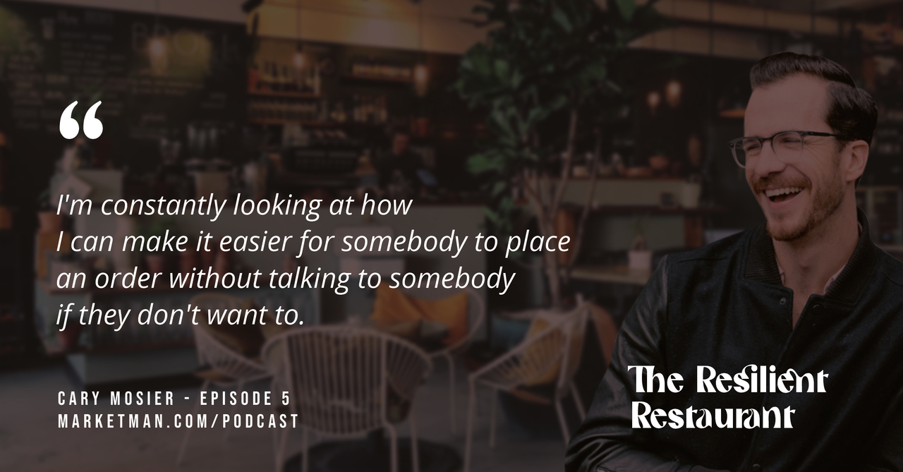 """Cary Mosier next to a quote that says, """"I'm constantly looking at how I can make it easier for somebody to place an order without talking to somebody if they don't want to."""""""
